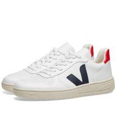 Veja V-10 Leather Basketball Sneaker White, Red & Navy
