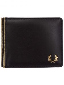 Fred Perry Flat Knit Tipped Black Billfold Wallet