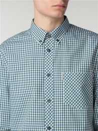 Ben Sherman Long Sleeve Core Gingham Shirt Hunter Green & Navy