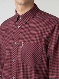 Ben Sherman Long Sleeve Core Gingham Shirt Syrah