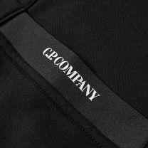 C.P. Company Diagonal Raised Fleece Arm Lens Popover Hoody Black