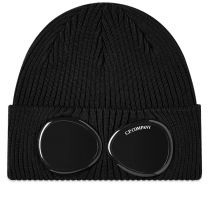 C.P. Company Cotton Knit Goggle Beanie Black