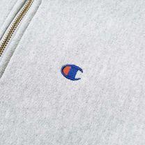 Champion Reverse Weave Quarter Zip Small Logo Sweat Grey Melange