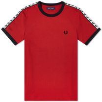 Fred Perry Authentic Taped Ringer Tee Deep Red