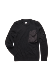 C.P. Company Lambswool Mixed Chrome Pocket Crew Sweat Black