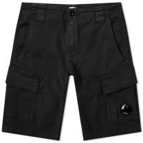 C.P. Company Garment Dyed Stretch Sateen Lens Pocket Shorts Black