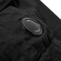 C.P. Company Garment Dyed Stretch Sateen Lens Pocket Shorts Black
