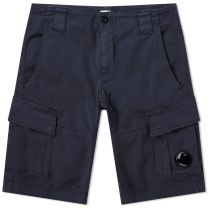 C.P. Company Garment Dyed Stretch Sateen Lens Pocket Shorts Total Eclipse