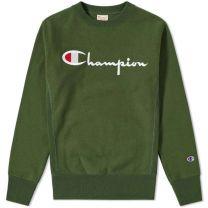 Champion Reverse Weave Script Logo Crew Sweat Bottle Green