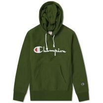 Champion Reverse Weave Script Logo Hoody Bottle Green