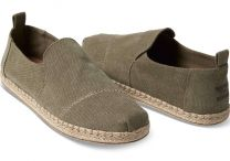 Toms Men Deconstructed Alpargatas Olive Washed Canvas