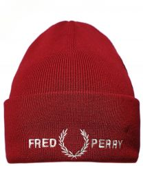 Fred Perry Authentic Embroidered Logo Beanie Dark Red