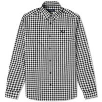 Fred Perry Authentic Button Down Gingham Shirt Snow White