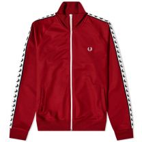 Fred Perry gives us retro British style with this red track jacket. It's made from a blend of polyester and cotton – meaning it's lightweight, soft and breathable – and then embroidered at the chest with the iconic laurel wreath logo. To finish, it's flas