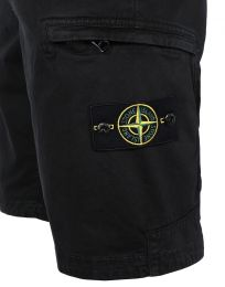 Stone Island L0504 T.Co+Old Stretch Bermuda Cargo Shorts Black