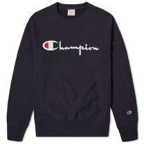Champion Reverse Weave Script Logo Crew Sweat Navy