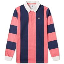 Adidas Contrast Stripe Rugby Shirt Indigo & Pink DU7852