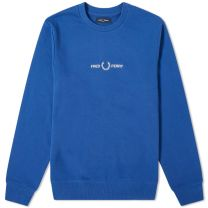 Fred Perry Authentic Embroidered Logo Crew Sweat Nautical Blue