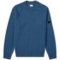 C.P. Company Arm Lens Lambswool Crew Knit Dark Denim