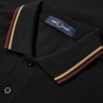 Fred Perry Authentic Slim Fit Twin Tipped Polo Black, Gold & Aubergine