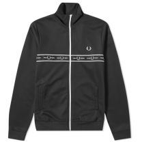 Fred Perry Authentic Taped Chest Track Jacket Black