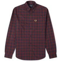 Fred Perry Authentic Button Down Winter Tartan Shirt Mahogany