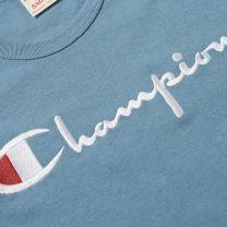 Champion Reverse Weave Script Logo Tee Petrol