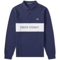 Fred Perry Panelled Pique Sweat Carbon Blue