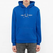 Fred Perry Authentic Embroidered Logo Popover Hoody Cobalt