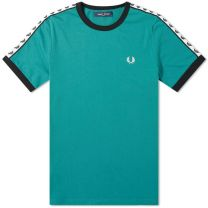 Fred Perry Authentic Taped Ringer Tee Light Petrol