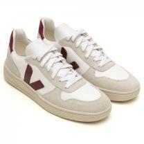Veja V-10 Suede & Mesh Basketball Sneaker White & Marsala