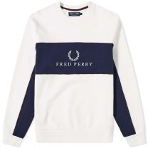 Fred Perry Panel Piped Sweat White