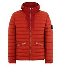 Stone Island 43125 Zip Hooded Loom Down Jacket Brick Red