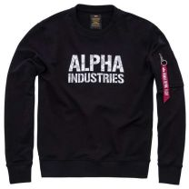 Alpha Industries Camo Print Sweat Black & Woodland