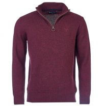Barbour Essential Wool Half Zip Sweater Merlot