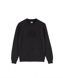 C.P. Company Light Fleece Mixed Garment Dyed Label Sweatshirt in Black