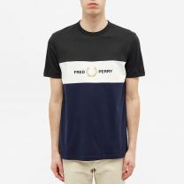 Fred Perry Authentic Embroidered Logo Panel Tee Carbon Blue