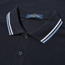 Fred Perry Authentic Slim Fit Twin Tipped Polo Navy & Riviera