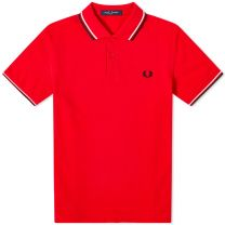 Fred Perry Authentic Slim Fit Twin Tipped Polo Jester Red, White & Black