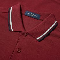 Fred Perry Authentic Slim Fit Twin Tipped Polo Tawny Port, Misty Jade & Navy