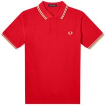 Fred Perry Authentic Slim Fit Twin Tipped Polo Red, White & Chrome