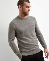 Lyle & Scott Crew Neck Lambswool MId Grey