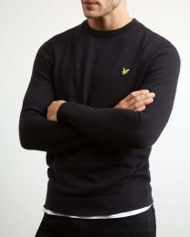 Lyle & Scott Cotton Merino Crew Neck Jumper True Black