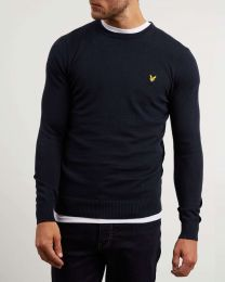 Lyle & Scott Cotton Merino Crew Neck Jumper Dark Navy