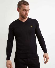 Lyle & Scott Cotton Merino V Neck True Black