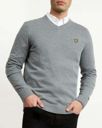 Lyle & Scott Cotton Merino V Neck Mid Grey Marl
