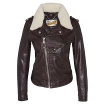 Schott Nyc Lady Perfecto Jacket with Removable Sheepskin Collar LCW2607 Plum