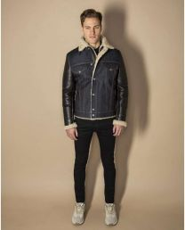 Schott NYC Limited Edition Bimaterial West Rodeo Jacket LMONEOONE Denim/Black/Black