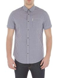 Ben Sherman Short Sleeve Core Gingham Shirt Blue Depths