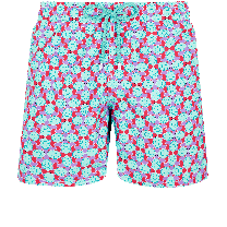 Vilebrequin Moorea Swim Short Data Turtles Cherry Blossom